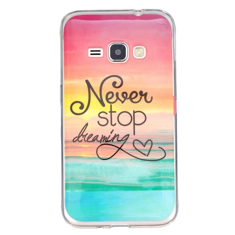 coque samsung galaxy j1 2016 never stop dreaming. Black Bedroom Furniture Sets. Home Design Ideas