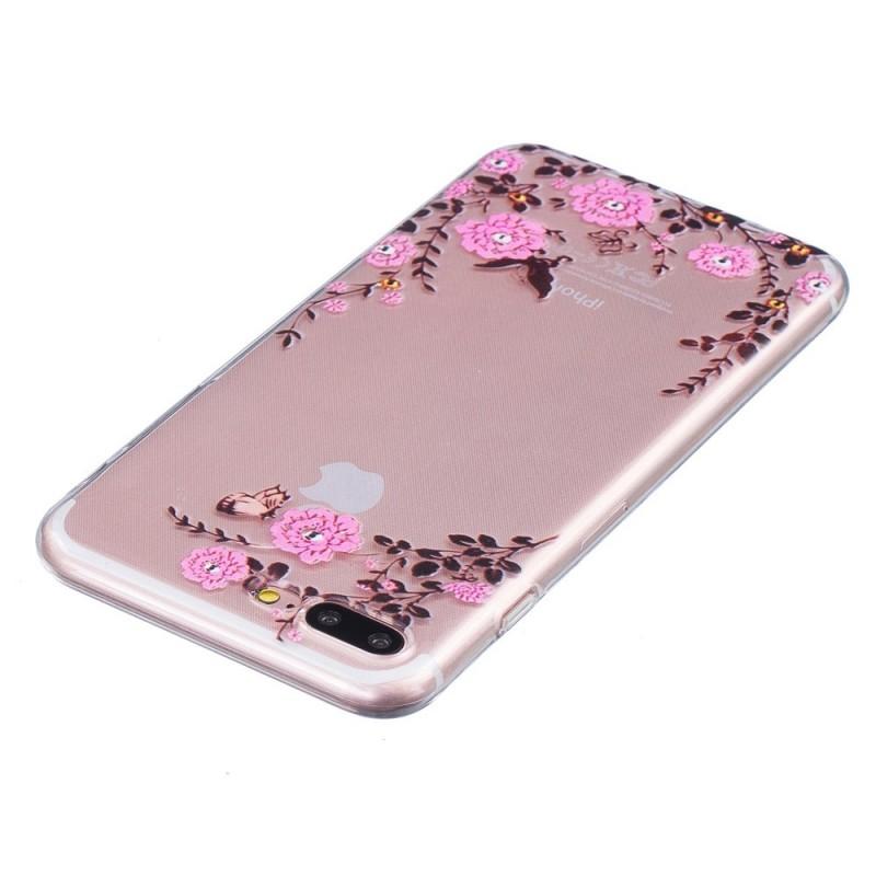 coque iphone 7 plus 8 plus fleurs roses. Black Bedroom Furniture Sets. Home Design Ideas