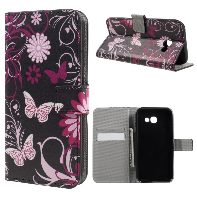 housse samsung galaxy a3 2017 papillons et fleurs. Black Bedroom Furniture Sets. Home Design Ideas
