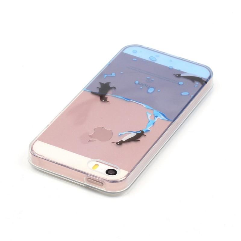 Coque iPhone SE/5/5S Transparente Jeu de Pingouins