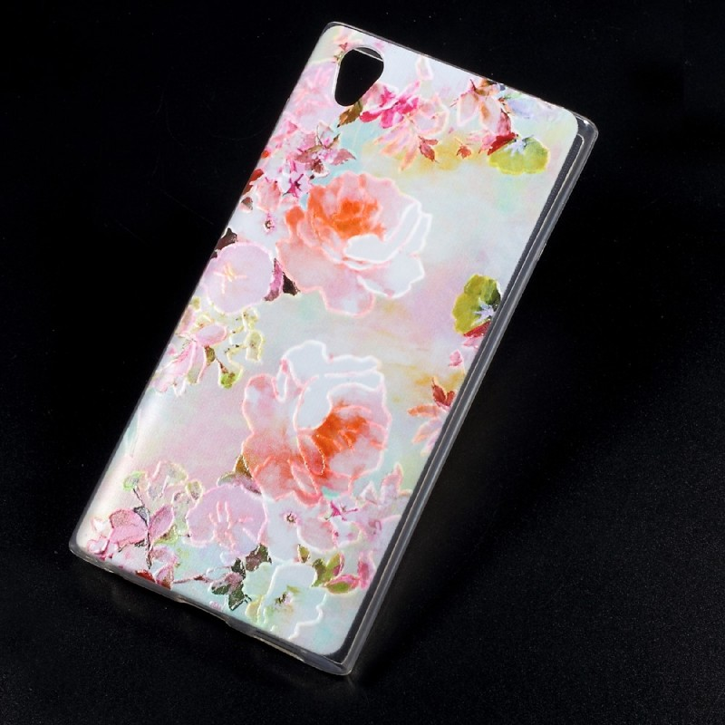 coque sony xperia l1 en relief fleurs clatantes. Black Bedroom Furniture Sets. Home Design Ideas