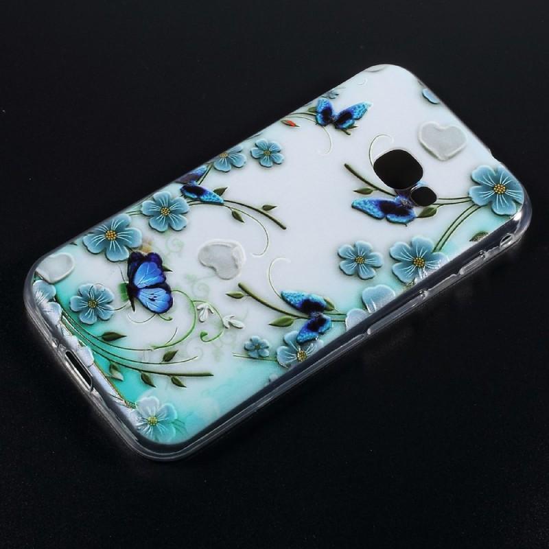 coque samsung galaxy xcover 4 en relief fleurs et papillons. Black Bedroom Furniture Sets. Home Design Ideas