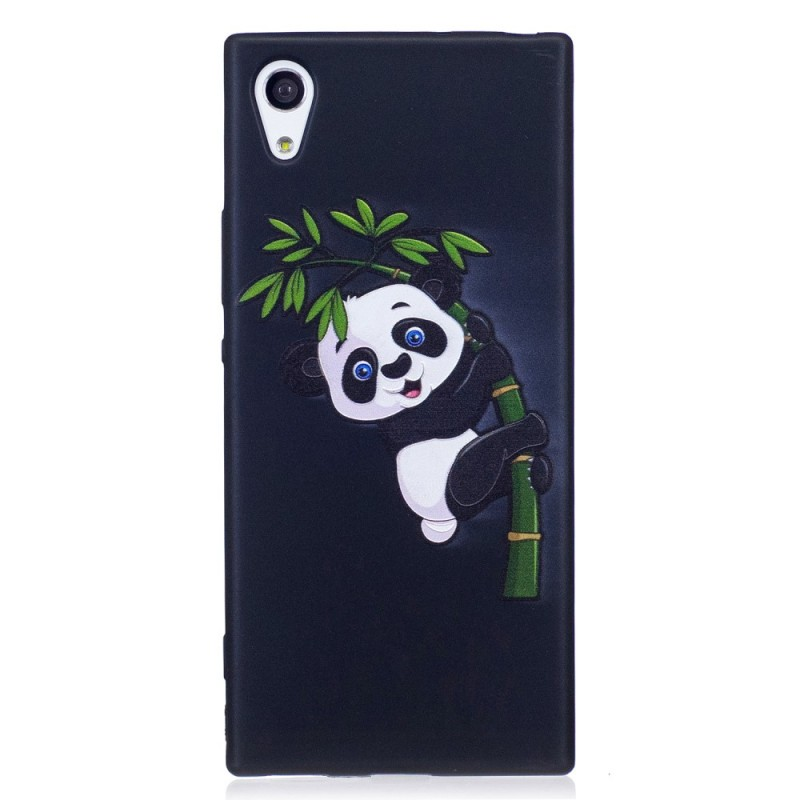 coque sony xperia xa1 en relief panda sur le bambou. Black Bedroom Furniture Sets. Home Design Ideas
