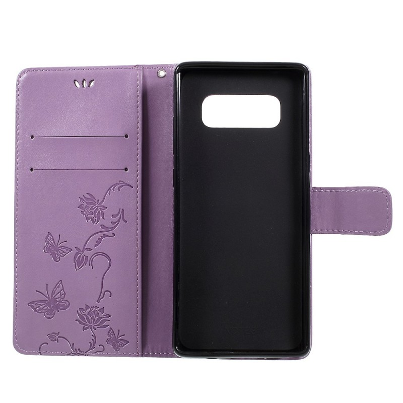 Housse samsung galaxy note 8 papillons et fleurs lani re for Housse galaxy note 8