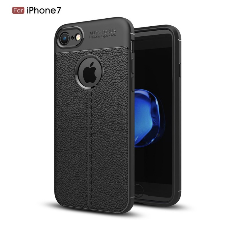 coque iphone 8 7 effet cuir litchi double line