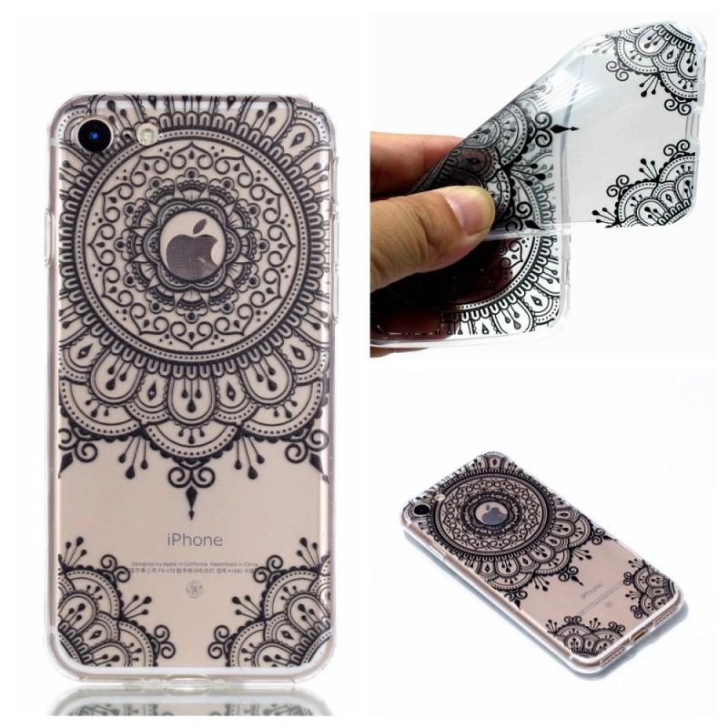 coque iphone se 2 8 7 transparente mandala gris