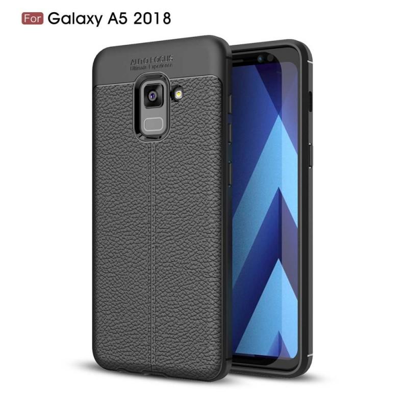 Coque Samsung Galaxy A8 2018 Effet Cuir Litchi Double Line