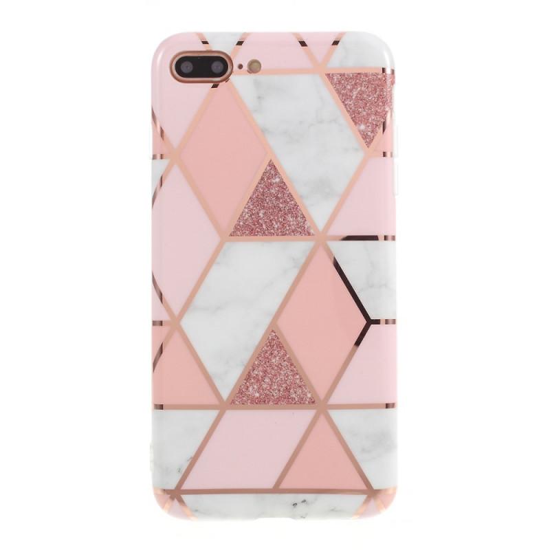 Coque iPhone 8 Plus / 7 Plus Marbre Géométrie Colorée