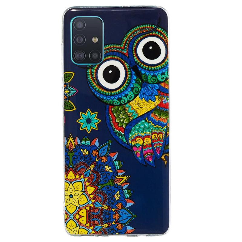 Coque Samsung Galaxy A71 Hibou Mandala Fluorescente