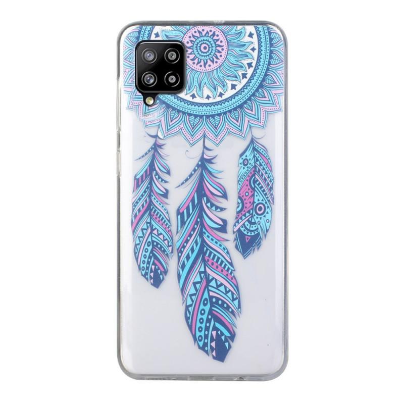 Coque Samsung Galaxy A12 Attrape Rêves Plumes Bleues